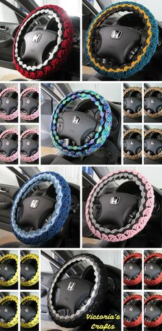 crafts, steering wheel covers, crochet car accessories