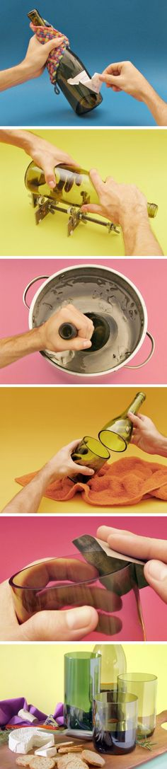 How to cut wine bottles for re-use