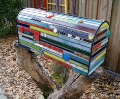 Geometric Mosaic Mailbox with rough wood post
