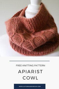 Free Knitting Pattern by Autumn and Indigo: Apiarist Cowl Knitting Kits, Easy Knitting, Loom Knitting, Baby Knitting Patterns, Knitted Cowl Patterns, Knitting Tutorials, Knitting Projects, Stitch Patterns, Knit Cowl