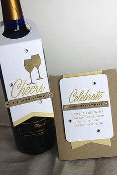 Anniversary Wishes Card and Wine Bottle Tag