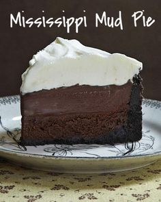 "Mississippi Mud Pie (aka Muddy Mississippi Cake) | Martha Stewart Living - Layers of crumbly cookie crust, rich chocolate cake, and creamy pudding make this Mississippi mud pie from Matt Lewis's ""Baked Explorations"" cookbook the ultimate indulgence for chocolate lovers."
