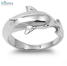 3D Cute Dolphin Romantic Love Symbol Band Ring Solid 925 Sterling Silver Plain Simple 2mm Band Dolphin Ring Size 4-16