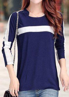 #rotita.com - #unsigned Patchwork Long Sleeve Navy Blue T Shirt - AdoreWe.com