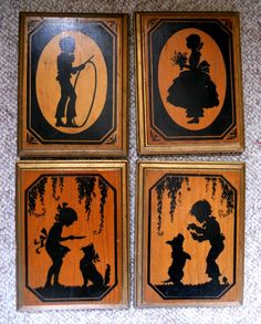CLOSING SALE Vintage silhouettes on wood frames girl by posypower, $19.00