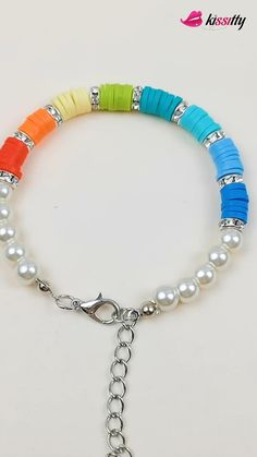 Polymer Clay Bracelet, Bracelet Crafts, Polymer Beads, Handmade Wire Jewelry, Handmade Bracelets, Beaded Bracelets Tutorial, Bead Jewellery, Beaded Jewelry, Jewelry Findings