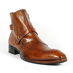 Jo Ghost Mens Shoes Two-Tone Zip-Up Camel Boots 1872M (JG1601)