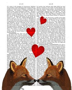 Foxes in Love Romantic Fox Couple with hearts, Dictionary art print valentine fox print fox picture fox painting fox illustration wall decor