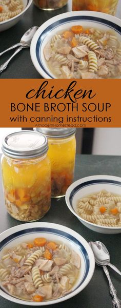 Chicken bone broth is seriously so easy! And this recipe is delicious!! Chicken bone broth soup with canning instructions, I'm doing this asap!!