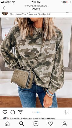 Camouflage, Camo Top, Camo Print, Sleeve Styles, Pullover Sweaters, Military Jacket, Long Sleeve Tops, Casual, Balloon Sleeves