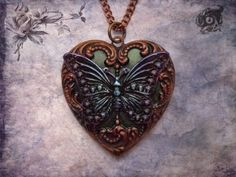 Neo-Victorian hand-painted copper and brass loveheart pendant with butterfly - Green, black, blue and purple - Steampunk Nature gift