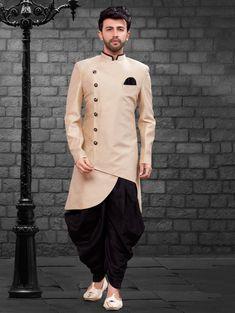 Cream Silk Asymmetric Peshawari Style Sherwani with Dhoti