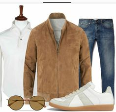 Casual Spring Outfit #jeans #suedejacket #casualsneakers Italian Mens Fashion, Preppy Mens Fashion, Timeless Fashion, Men Fashion, Casual Chic Outfits, Casual Chic Style, Cool Outfits, Casual Wear, Outfit Grid