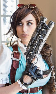 Steampunk Lara Croft by Meagan Marie. Reminds me of a Lara Croft/ belle mix