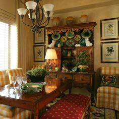 Colorful French Country dining area...
