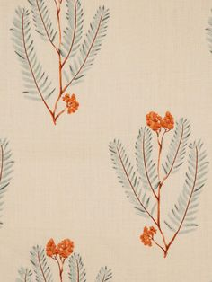 Repeat foliage pattern in soft green and bright orange. Textiles, Textile Patterns, Textile Prints, Textile Design, Print Patterns, Surface Pattern Design, Pattern Art, Motif Floral, Fabric Wallpaper