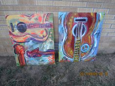 Local Culture Guitars on canvas by ArtbyAngelia on Etsy, $300.00