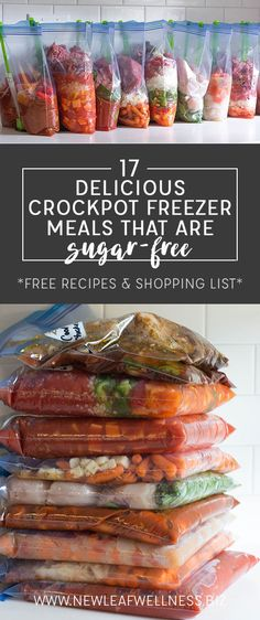List of 17 Delicious Sugar-Free Crockpot Freezer Meals -- includes FREE printable recipes and shopping list!