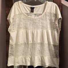 White lace shirt Torrid size 0 white lace top torrid Tops Blouses
