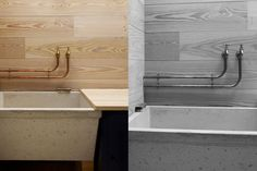 Scullery style Sink with brass taps and concrete laundry sink.