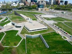 Canadian War Museum - Dedicated to the education, preservation and remembrance of Canada's military history, the Canadian War Museum also demonstrates a commitment to environmental sustainability. The Museum's architectural theme, as reflected in its design, is regeneration:  While nature may be ravaged by human acts of war, it inevitably survives, regenerates and renews itself. - Raymond Moriyama (architect)  By fully integrating this theme into the building and landscape architecture…