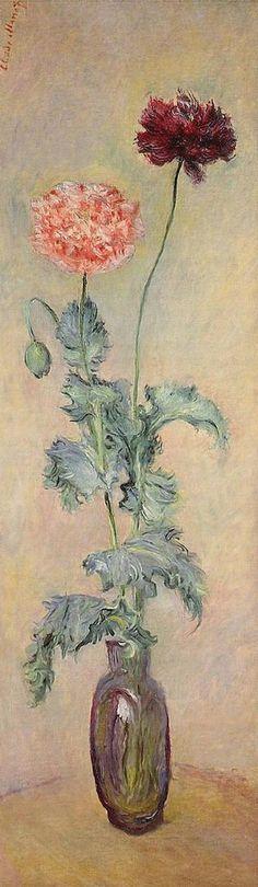 """Claude Monet (1840-1926) -  """"Pavots rouge et rose"""" - Huile sur toile - (Panneau de la partie supérieure gauche de la porte A du salon de Durand-Ruel) - http://www.flickriver.com/photos/7208148@N02/4501230554/ - http://www.sothebys.com/en/auctions/ecatalogue/2014/impressionist-modern-art-evening-sale-l14002/lot.78.html"""