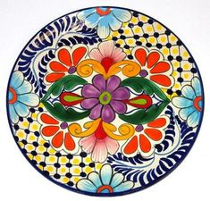 Hand made and painted decorative round Talavera Plate, made by F. Dorga, Central Mexico.