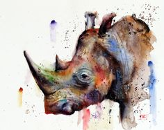 RHINO Watercolor Print by Dean Crouser by DeanCrouserArt on Etsy