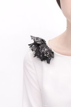Sculptural shoulder brooch made with cast metals - contemporary jewellery design; art jewelry // Mian Wu  #ContemporaryJewelry