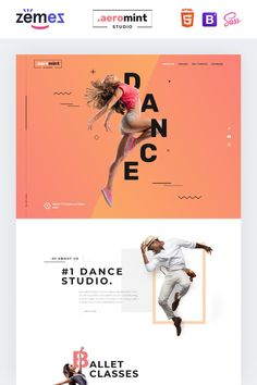 Aeromint is one of the best dance studio landing page templates. Its bright design allows you to post detailed information about your dancing classes. Page Layout Design, Website Design Layout, Web Layout, Website Design Inspiration, Landing Page Inspiration, Web Design Mobile, Design Ios, Flat Design, Interface Web