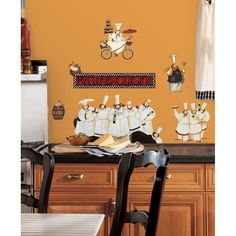 New CHEFS WALL DECALS Kitchen Chef Stickers Cooking Decor Cafe Decorations #RoomMates #FrenchCountry