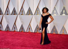 Bombshell: Taraji's gown was pure Hollywood glamour...
