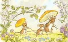 Molly Brett postcard vintage mice postcard by sharonfostervintage