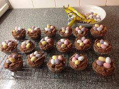 I made these for my child's class cake sale at Easter. Chocolate cupcakes iced with chocolate butter icing. I used Flakes to make little nests and added chocolate mini eggs. They were very popular with the children.