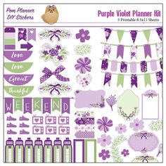 Purple Violet Printable Planner Stickers / 5 PDF Clip Art, Washi, HP & EC Boxes, 180 Icons/  Purple and Green #POMPLANNER #PLANNERLOVE #PLANNERADDICT