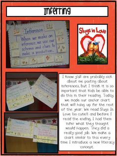 Inference chart, I like that their predictions are around the edge of it. Cute book too!