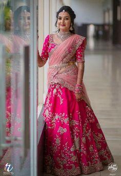 Bride With Pink Bridal Lehenga : Spotted Online Lehenga Saree Design, Half Saree Lehenga, Lehnga Dress, Sari, Lehenga Gown, Kids Lehenga, Anarkali, Pink Bridal Lehenga, Designer Bridal Lehenga