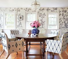 Blue and white dining room. Architectural Digest
