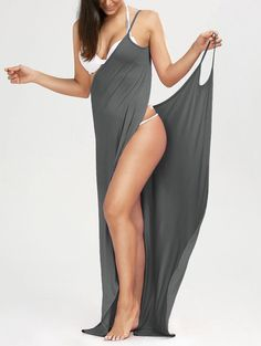 Maxi Wrap Slip Swimsuit Cover Up Dress