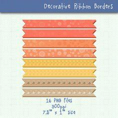 Ribbons Clip Art | Multicolor Decorative Banners | Designer Resources | Craft Supplies | Ribbons Graphics | Instant Download Digital Clipart