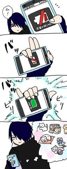 What a great idea to charge your phone. It never runs out ouf battery. Not even if you are watching cute kitten videos .:D #naruto #sasuke #funny