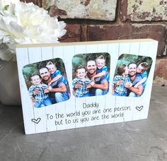 These fantastic Personalised Fathers Day Photoblocks are handmade to order from gorgeous pine using your own photos and text of your choice. They are a MUST for any daddy on Father's Day, Birthday, Christmas or just to show how much you love them. New Daddy Gifts, Gifts For New Dads, First Fathers Day, Fathers Day Gifts, Christmas Presents For Dad, I Love Daddy, Personalized Photo Gifts, Photo Blocks, You Are The World
