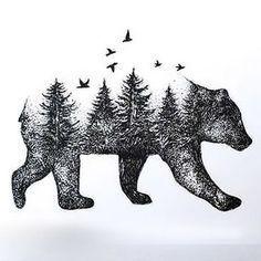 Dotwork Bear Forest Tattoo Design for Men