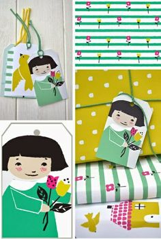 rosehip wrapping paper and tags