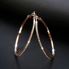 Fashion Hoop Earring Rhinestone Big Circle Loop Earrings | Atom Oracle Circle Diamond Rings, Diamond Hoop Earrings, Simple Earrings, Rose Gold Earrings, Rhinestone Earrings, Round Earrings, Pendant Earrings, Crystal Earrings, Women's Earrings