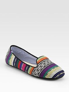 Charles Philip Shanghai Striped Linen Smoking Slippers...love the mixed patterns!