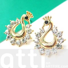 Peacock Bird Animal Stud Earrings in Gold with Rhinestones $6 #swans #birds #animals #earrings #jewelry