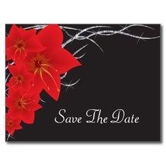 Red Tropical Flowers & Diamond Vines Postcards