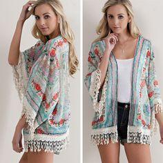 Floral Kimono Cardigan - Coral Combo - $34.50