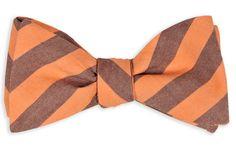 High Cotton | Burgundy and Orange Oxford Stripe Bow Tie